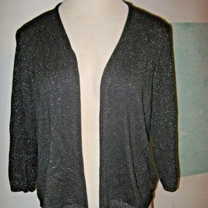 CJ BANKS Dark Gray Silver Glitter Tie Sweater 2X
